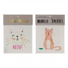 Tatouages éphémères chats - Set de 2 Multicolore
