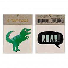 Tatouages éphémères dinosaure - Set de 2 Multicolore