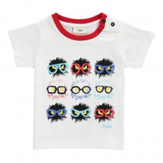 T-Shirt Rayures Monstres Blanc