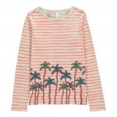 T-shirt Rayé Palmiers Rose pâle