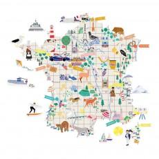 Sticker Ma France avec pastilles repositionnables Multicolore