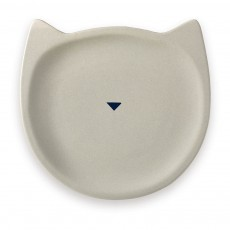 Assiette Chat en porcelaine Gris