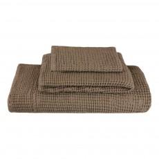 Set de 3 serviettes de toilette en nid d'abeille - Beige