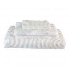 Set de 3 serviettes de toilette en nid d'abeille - Blanc