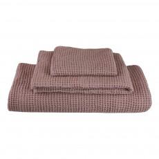 Set de 3 serviettes de toilette en nid d'abeille - Vieux rose