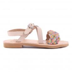 Sandales Tressées Cuir Sifnos Beige