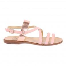 Sandales Bicolores en Cuir Rose pâle