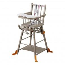 Chaise haute transformable - Laqué Gris
