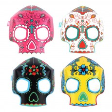 Masques fluorescents en papier tête de mort - Set de 8