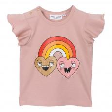 T-Shirt Coton Bio Arc en Ciel Vieux Rose