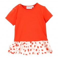 T-Shirt Coton Bio Volants Imprimés Rouge