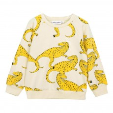 Sweat Coton Bio T-Rex All Over Jaune