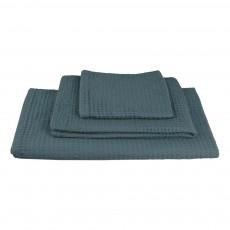 Set de 3 serviettes de toilette en nid d'abeille - Bleu gris