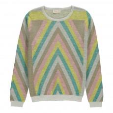 Pull Géométrique Lurex Rainbow Blanc