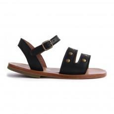 Sandales Cuir Double Lannières Noir