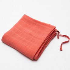 Lange en mousseline de coton 60x60 cm Corail