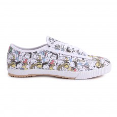 Baskets Toile à Lacets Peanuts All Over Snoopy Blanc