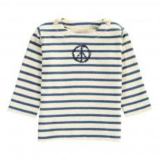 Sweat Coton Bio Rayé Marine Peace Bleu marine