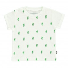 T-Shirt Coton Bio Allover Mains Vert pâle