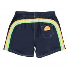 Short de Bain Uni Bande Tricolore Bleu marine