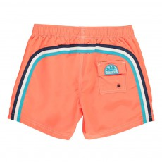 Short de Bain Uni Bande Tricolore Orange fluo