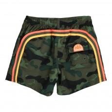 Short de Bain Camouflage Bande Tricolore Vert kaki