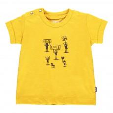 T-Shirt Coton Bio Peace Love Jaune