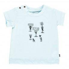 T-Shirt Coton Bio Peace Love Bleu
