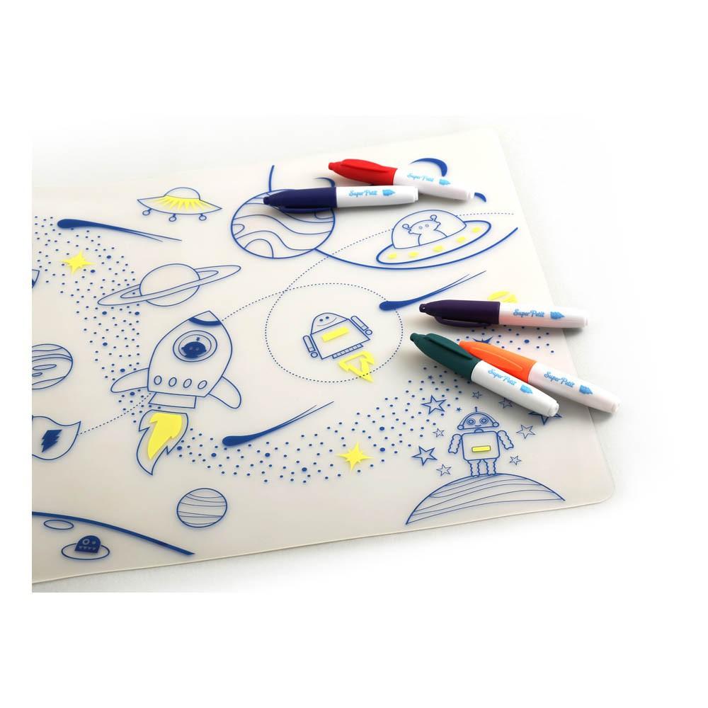 Set de table colorier avec 5 feutres et bracelet super for Set de table jaune