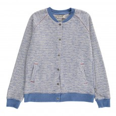 Sweat Coton Bio Teddy Rayé - Made in Portugal Bleu