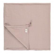 Lange-plaid 120x120 cm en gaze de coton éco labellisé avec attache Gris clair