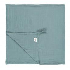 Lange-plaid 120x120 cm en gaze de coton éco labellisé avec attache Bleu pétrole
