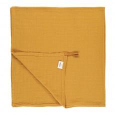 Lange-plaid 120x120 cm en gaze de coton éco labellisé avec attache Jaune