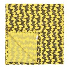 Lange-plaid montagne 120x120 cm en gaze de coton éco labellisé avec attache Jaune