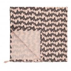 Lange-plaid montagne 120x120 cm en gaze de coton éco labellisé avec attache Rose poudré
