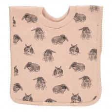 Bavoir lapin encolure t-shirt Rose poudré