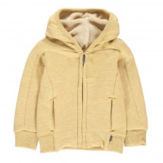 Sweat Zippé à Capuche Jaune