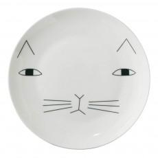 Assiette en céramique chat Blanc