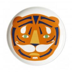 Assiette en céramique tigre Orange