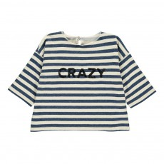 "Sweat Rayé Cropped ""Crazy"" Sequins Bleu indigo"