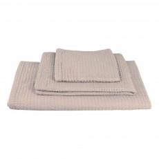 Set de 3 serviettes de toilette en nid d'abeille - Poudre