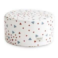 Pouf Soho triangles bleu rouge Bleu