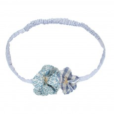 Headband Fleur Nature Chambray Bleu