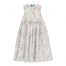 Robe Liberty Plumes Paon Constance Gris clair