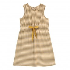 Robe Rayée Lien Taille Ocre