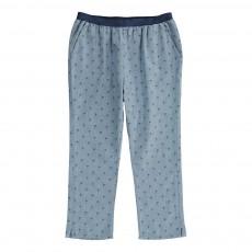 Pantalon Chambray Palmiers Bleu jean