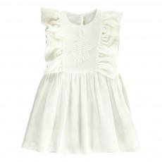Robe Volants Broderie Blanc