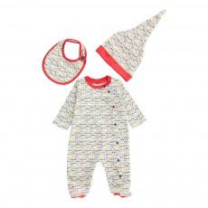 Set Pyjama   Bavoir   Bonnet Lunettes Blanc