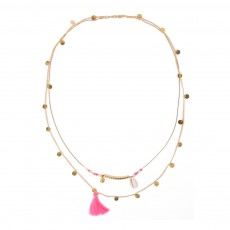 Collier Pompon Coquillage  - Collection Ado et Femme - Rose