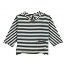 T-Shirt Rayé Poche Bouton Bébé Bleu indigo